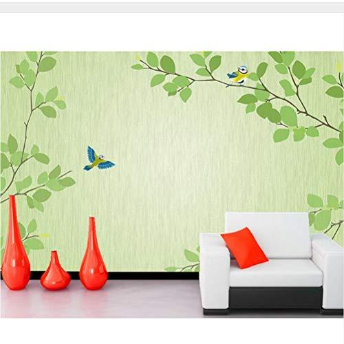 Meaosy grote muurschilderingen, verse groene pruik vogel moderne eenvoudige tv achtergrond 3D behang, woonkamer bank muur slaapkamer muur papier huisdecoratie 200x140cm