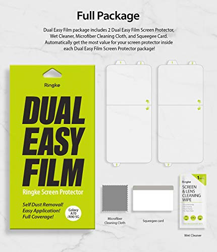 "Ringke Dual Easy Film (2 Pack) Designed for Galaxy A70s, Galaxy A70 Screen Protector and Galaxy A90 Screen Protector 6.7"" (2019)"