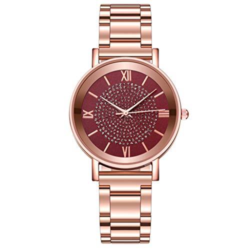 Fenverk Armband aus echtem Leder oder Edelstahl, analoge Damen Armbanduhr mit Gehäuse aus Edelstahl(Red#01)