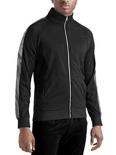 Mens Premium Vintage Track Jacket Performance Active Slim Fit Pique Jacket with Side Taping (Large, Black/Charcoal)