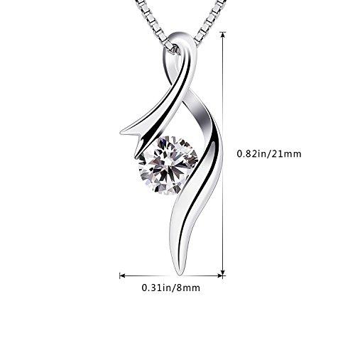 B.Catcher Necklaces 925 Sterling Silver Pendant Necklaces Cubic Zirconia Twist Heart Jewellery