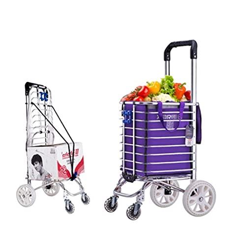 LINQ Bolsas de Carrito de Compras, 35L Aleación de Aluminio Ligero de 35L Carrera de Compras de 4 Ruedas, con Dura y plieta para un fácil Almacenamiento, púrpura (Color : Purple)