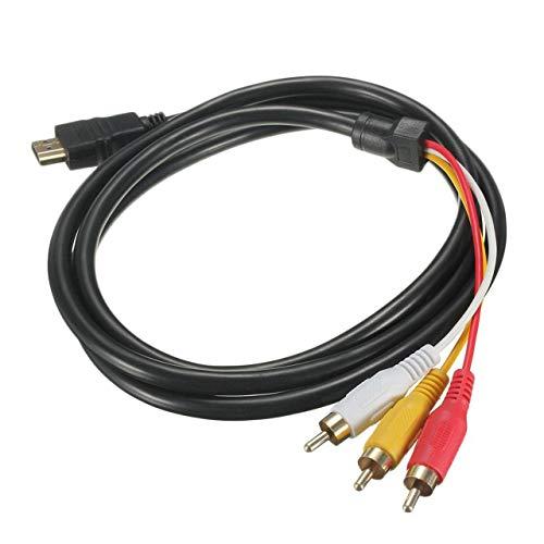 Dswe Conectores chapados en Oro 5 pies 1.5M 1080P HDTV Compatible con HDMI Macho a 3 RCA Adaptador de Cable de Audio y Video AV Cable