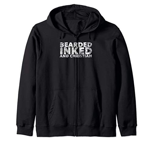 Bearded Inked and Christian - Tattooed Believer with Beard Zip Hoodie