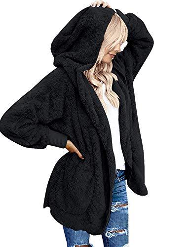 Yanekop Womens Fuzzy Fleece Open Front Hooded Cardigan Jackets Sherpa Coat with Pockets(Black,L)