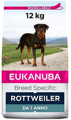Eukanuba, Alimento completo per Cani di Razza Rottweiler, Crocchette con Pollo, 12 Kg