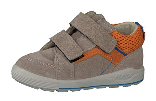 RICOSTA Jungen Sneaker Leon 2421800, Kinder High-Top Sneaker,Sportschuh,Klettschuh,Sneaker-Stiefel,mid Cut, Doppelklett-Verschluss,Tundra/orange,22 EU