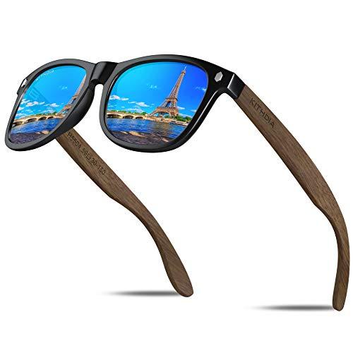 KITHDIA Gafas De Sol De Madera Polarizadas Mujer Hombres Protección Contra Rayos Ultravioleta Marco De Bambú Gafas De Sol T5504 (Madera de nogal / Azul-S5504)