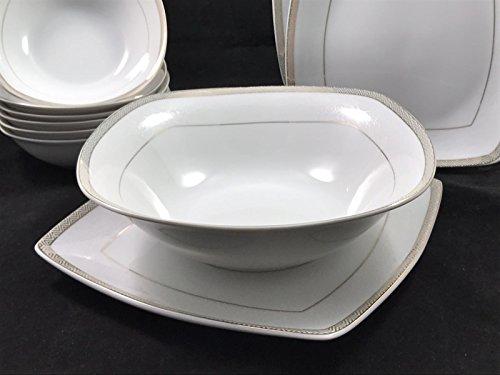 Topkapi Elizabeth TK-980 – Schüssel/Schale mit Gold/Platindekor, für Salat, Beilagen, Porzellan, eckig, 22,5 x 22,5cm, 1,3 Liter