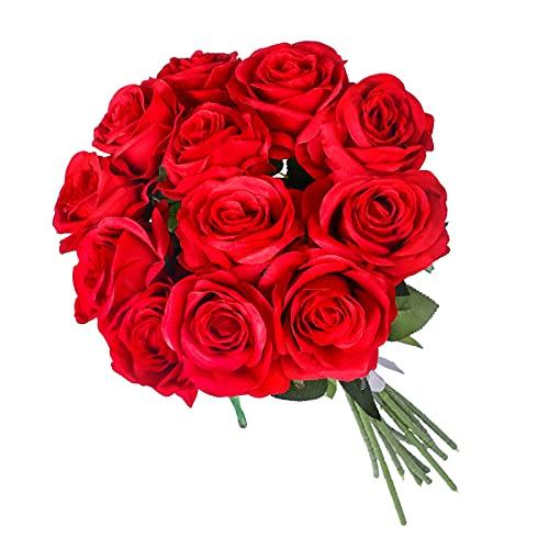 Kisflower 12Pcs Rosen Künstliche Blumen Realistische Einzelstiel Blumen Seiden RosenStrauß für Hochzeiten Party Büro Home Decor (Rot)