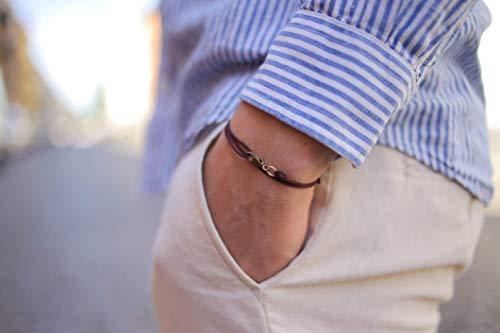 Dezentes Armband für Herren und Damen - edles Wickelarmband für Männer - Minimalistischer Schmuck - 100% wasserfest & stufenlos verstellbar - Karabiner-Haken Armband - Gold Wein-Rot