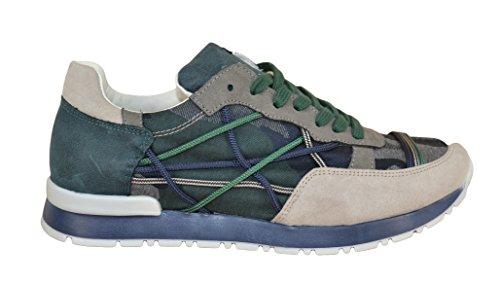 L4K3 Scarpe Sneakers Lake Unisex Mr Big Ecocamoscio Jeans Corda Camouflage (41)