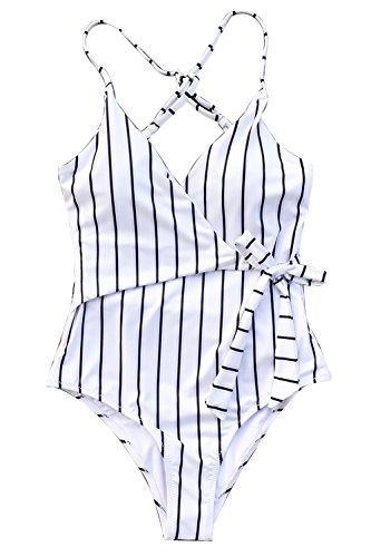 CUPSHE Women's Stay Young Stripe One-Piece Swimsuit Beach Swimwear Small