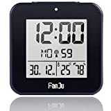 ALLOMN Reloj Despertador Digital, Reloj Inteligente de Viaje Mesa de Escritorio Reloj de Cabecera DCF Reloj de Alarma Dual, 12/24H, Temperatura y Humedad, Retroiluminación y Baterías AA (Negro)