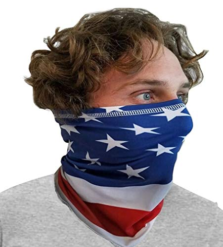 Blubandoo Cooling Bandoogator   Half Face Mask   Neck Gaiters   for Men & Women   USA Wavy Flag