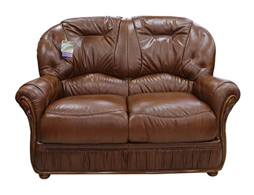 New Handmade Debora 2 Seater Sofa Settee Genuine Italian Real Tabak Brown Leather