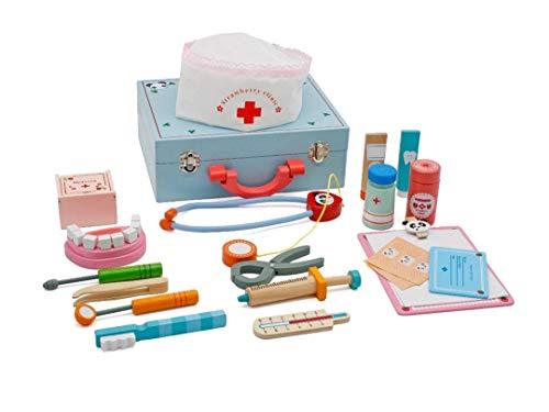 Doctora juguetes madera, pretender juguete maletin medicos kit, Juegos dentista playset para pequeño niños
