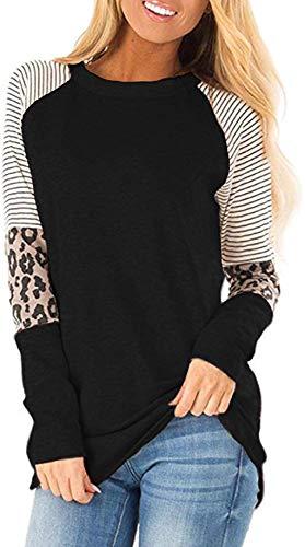 Mujer Casual Suelto Jersey Suéter Pullover Camiseta a Rayas Sudadera con Manga Larga Jerséis T-Shirt tee Túnica Tops Negro XL