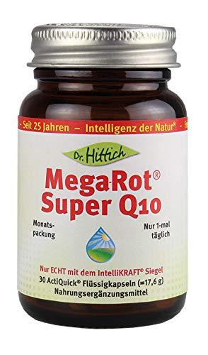 Mega-Rot® Super Q10-30 Coenzym Q10 Kapseln - Hochreines Q10 mit Krillöl Phospholipiden für die direkte Aufnahme im Körper. Von Dr. Hittich