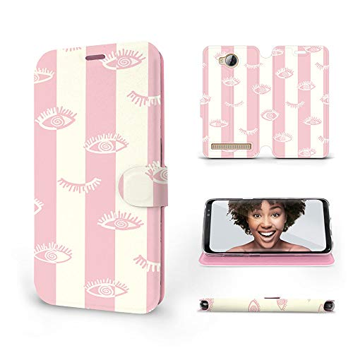 Mobiwear | Slim FLIP Case | Kompatibel mit Huawei Y3 II, Made in EU handyhülle, Premium Schutzhülle, Transparent TPU Silicon, Book Style Hülle, Tasche - Augen auf