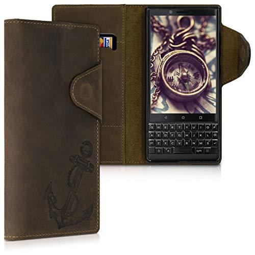 kalibri Coque Portefeuille Compatible avec Blackberry KEYtwo (Key2) - Coque étui à Rabat en Cuir avec Compartiment Carte et Support - Marron