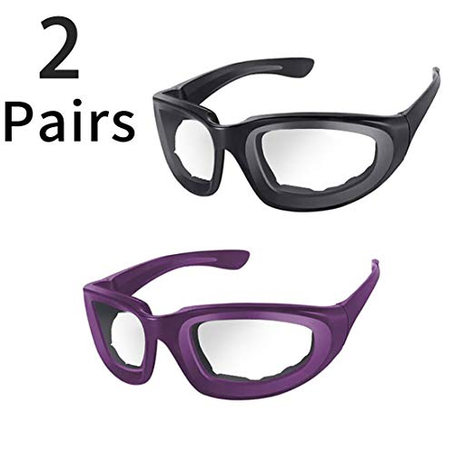 2 Pieces Onion Glasses No Tears Kitchen Onion Glasses with Inside Sponge for Chopper Onion Tearless BBQ Dust proof for Women Men Cleaning Kitchen(Black + Purple)
