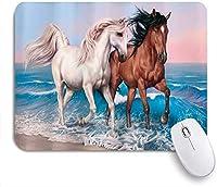 マウスパッド 個性的 おしゃれ 柔軟 かわいい ゴム製裏面 ゲーミングマウスパッド PC ノートパソコン オフィス用 デスクマット 滑り止め 耐久性が良い おもしろいパターン (水の中を実行している白い茶色の馬)