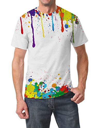 Goodstoworld 3D Printed T Shirt for Men Women Summer Personalized Casual Short Sleeve Tshirt Tee Tops Clothing, Coloured Graffiti, M