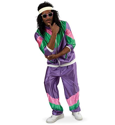 KarnevalsTeufel Jogginganzug Retro 80er Jahre Sportanzug Gymnastikanzug Trainingsanzug Assi-Anzug knallig Proll bunt Bad Taste Party (X-Large)