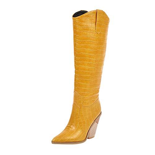 Frauen Stiefel Winter Warm Mid Tube Wedges Stiefel Spitz Bequeme Bestickte Western Rodeo Lederstiefel(Gelb,38 EU)