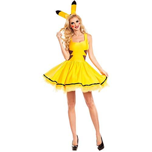ZHANGSDJ Costumi Natalizi Traje De Navidad Disfraces De Halloween para Mujeres Pokemon Pikachu Disfraz Cosplay Fiesta De Navidad Disfraces Animal Adulto Carnaval