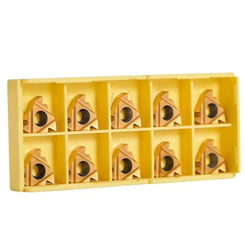 10er 3/8 \'\' 16ER AG60 Hartmetall Einsatzschneider für Metall-Edelstahl-Drehmaschine Fräswerkzeug Außengewinde mit Gehäuse für Wendeschneidwerkzeug Werkzeughalter