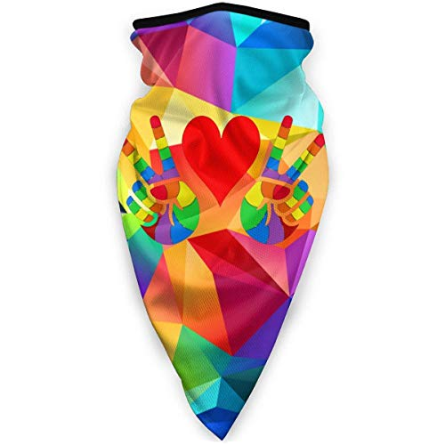 NA LGBT Peace and Love Rainbow Design Outdoor Face Mouth Mask Windproof Sports Mask Ski Mask Shield Scarf Bandana for Unisex