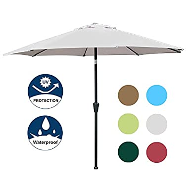 Blissun 9' Outdoor Market Patio Umbrella with Auto Tilt and Crank, 8 Ribs (Grey)