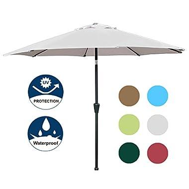 Blissun 9' Outdoor Market Patio Umbrella with Auto Tilt and Crank, 8 Ribs (Grey)