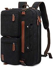 AUTENS Convertible Backpack Briefcase Messenger Bag 15.6 Inch Laptop Tablet Carrying Case Shoulder Bag Waterproof Back Pack Travel Rucksack Multi-Functional Handbag for Men Women (Canvas Black)