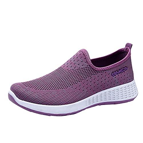 Zapatillas de Deporte Mujer Running Zapatos para Correr Antishock Gimnasio Sneakers Deportivas Transpirables (M27_Purple,37)