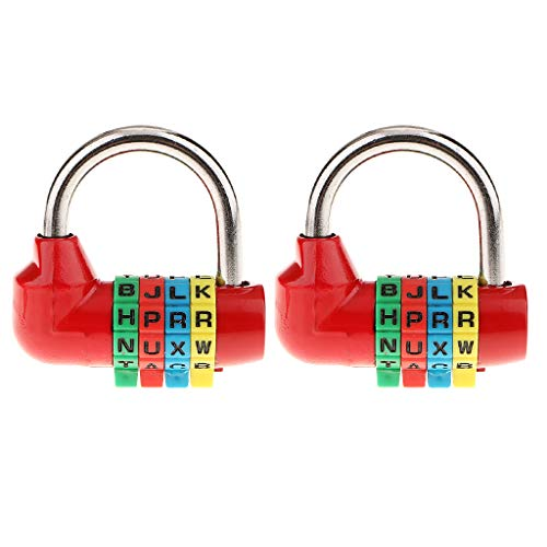 B Blesiya 2X Combination Lock Resettable Padlock 4 Letters for Tool Box Lockers Suitcase