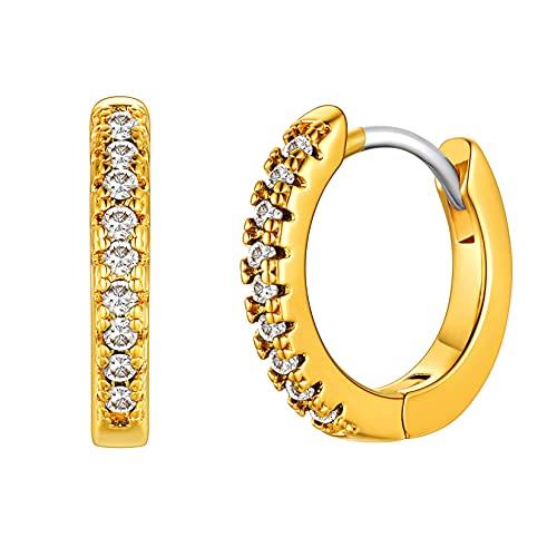 Kvinnors flickor ringörhängen, stor oval/stjärna/hjärta/fyrkant/sol/cirkel/kors/cirkel med kubisk zirkonia, broskmanschett huggie örhängen för damer (skicka presentask) e Koppar, colore: 07-Cirkel Guld, cod. HMD-E4968K-50
