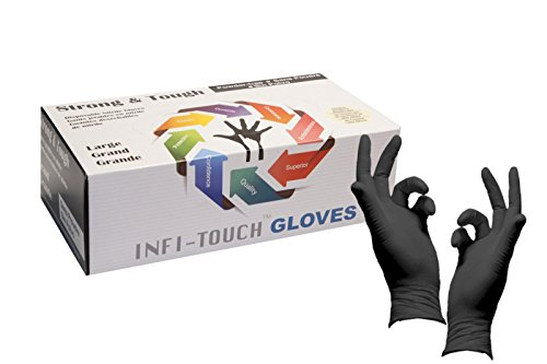Infi-Touch Heavy Duty Nitrile Gloves, Strong & Tough, High Chemical Resistant, Disposable Gloves, Powder-Free, Non Sterile, Ambidextrous, Finger Tip Textured, Dispenser Pack of 100, Size Large.