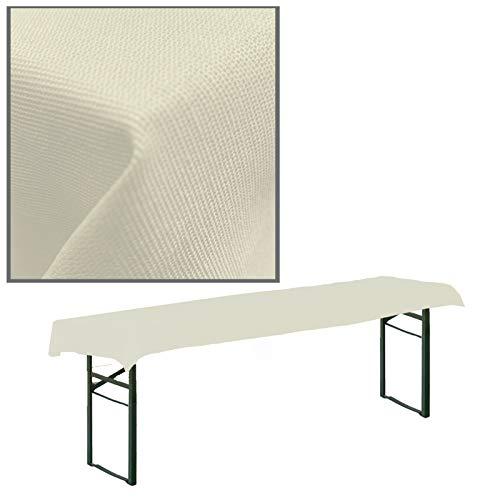 JEMIDI Tovaglia in tessuto per tavolo da birreria, a quadretti, tovaglia da tavolo (bianco crema, 90 cm x 240 cm per tavoli da birra)