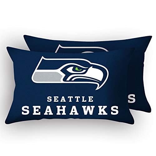 MT-Sports Football Team Super Bowl Throw Pillow Covers Pillow Cases Two Size Decorative Pillowcase Protecter with Zipper Without Insert Set of 2 (Seattle Seahawks, 12' x 20')