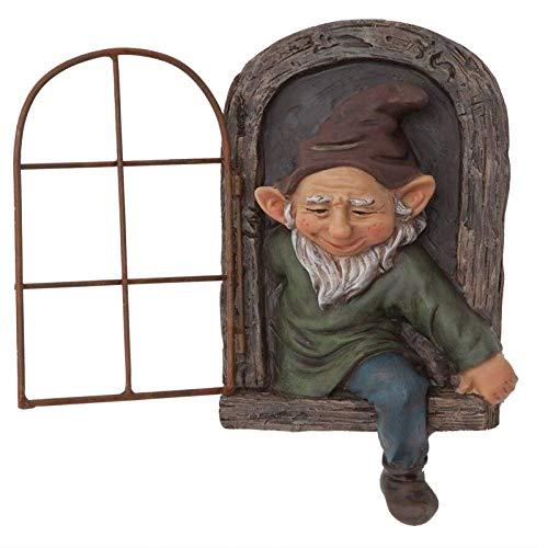 ZQBB Elf out The Door Tree Hugger - Garden Peeker Yard Art - GNOME risueño Sentado en el alféizar de una Ventana Dwarf Men