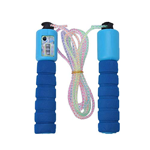 Vbest life Saltar la Cuerda, Saltar la Cuenta Ajustable con cómodos Mangos Antideslizantes para Gimnasio, Cardio, Fitness, Entrenamiento(Azul)