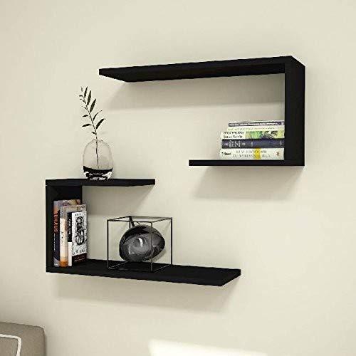 Homemania J2 Noir, 18 mm de qualité E1. Mélamine Face. Bandes Latérales in PVC 0,40 mm-Mobilier Design Maison-pour Salon, Bureau, Chambre-Etagère, Comptoir, Taille Unique