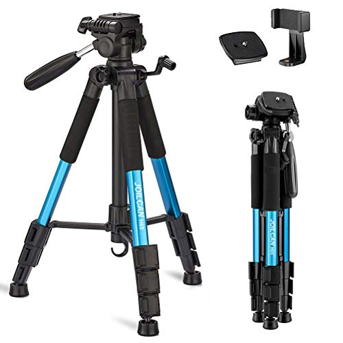 Joilcan 66-inch Lightweight Camera/Phone Tripod, Aluminum Travel Portable SLR Tripod with Mobile Phone Mount and 2 Quick Release Plate-Blue