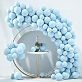 Honinda Pastel Blue Balloons Latex Party Balloons 10inch + 5inch 70pcs Macaron Light Blue Balloons Helium Balloons for Wedding Birthday Baby Shower Party Decoration