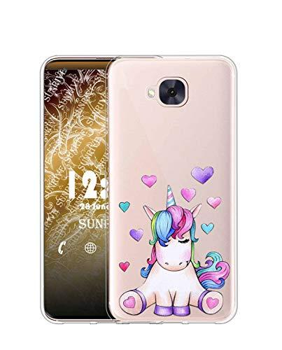 Sunrive Kompatibel mit HTC One M9 Hülle Silikon, Transparent Handyhülle Schutzhülle Etui Hülle (TPU Herz Einhorn)+Gratis Universal Eingabestift MEHRWEG