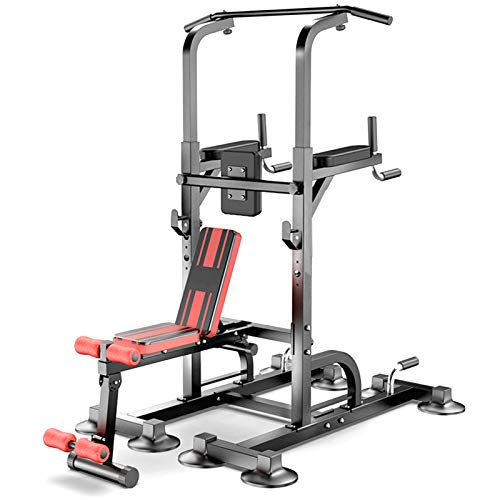 NENGGE Power Tower Workout Dip Station Pull Up Bar for Home Gym Adjustable Height Multifunctional Strength Training Fitness Exercise Equipment with Bench, Capacity 550kg,A