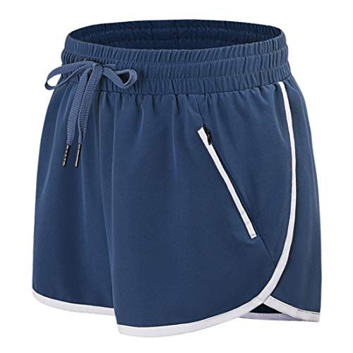 Athletic Shorts for Women,Petite Dri Fit Shorts Double Layer Work Out Running Stretchy Fitted Short Pants Non See-Through Fabric Clingy Outwear Athletic Clothes Blue S